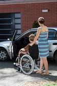 Lady on wheelchair — Stock Photo