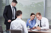 Employees don't listen to boss — Stock Photo