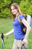 Girl during country walk — Stock Photo
