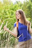 Girl on a field of wheat — Foto de Stock