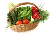 Isolated basket with vegetables — Stock Photo