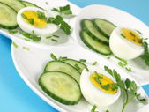 Garnished eggs for eastern breakfast — Stock Photo