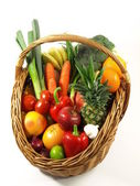 Vegetables and fruits in a basket. isolated  — Stock Photo