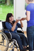 Female caregiver giving cup of tea to woman on wheelchair — Stock Photo