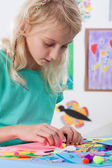 Girl at art lessons at school — Stock Photo