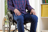 Capable man in shirt on wheelchair  — Stock Photo