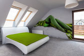 Luxury bedroom in the attic — Stock Photo