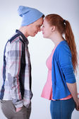 Teenagers couple standing — Stock Photo