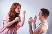 Teenagers fighting each other — Stock Photo