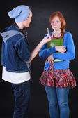 Teenage giving joint to friend — Stockfoto