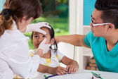Girl during eye examination — Stock Photo