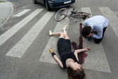 Woman killed by car — Stock Photo