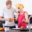 Busy couple in the morning — Stock Photo #50025837