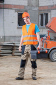 Construction worker with tool box — Stock Photo
