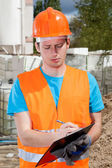 Engineer during building inspection — Stock Photo