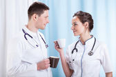 Doctors having coffee break — Foto de Stock