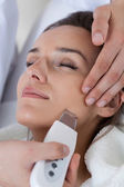 Close-up of woman having cavitation peeling — Stock Photo