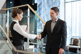 Businesswoman and businessman shaking hands — Stok fotoğraf