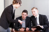 Office workers during meeting with manager — Stock Photo