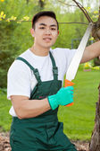 Gardener with saw — Stock Photo