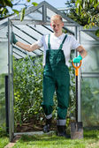 Gardener with a spade — Stock Photo