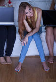 Bored girl during friends meeting — Stock Photo