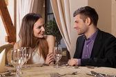 Happy couple having dinner — Stock Photo