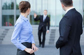 Employees talking — Stock Photo
