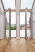 Open balcony windows — Stock Photo