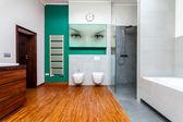 Wooden bathroom — Foto Stock