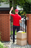 Delivery man delivering packages to home — Stock Photo