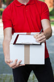 Courier writing a transport document — Stok fotoğraf