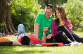 Teenagers playing hookey in park — Stock Photo