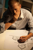 Overtime in the architectural office — Stock Photo