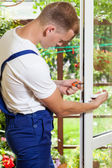 Window frame reparation — Stock Photo