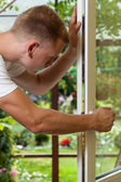 Handyman working at home — Stock Photo