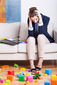 Tired working mother — Stock Photo
