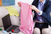 Working mum and clothes — Stock Photo