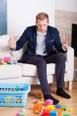 Businessman gets upset at mess — Stock Photo