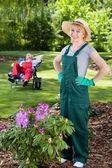 Satisfied female gardener — Stock Photo