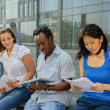 Group portrait of african, asian and european university student — Stock Photo