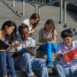multiethnic group of university students sitting on steps — Stock Photo
