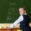 Little proud schoolgirl at blackboard — Foto Stock