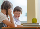 Happy schoolchildren — Stock Photo