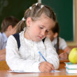 Little pretty schoolgirl writing in class — Stock Photo #39743565
