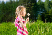 Cute blonde little girl blowing a dandelion and making wish — Stock Photo