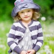Outdoor portrait of a beautiful little girl in summer field — Stock Photo