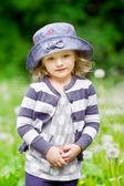 открытый портрет красивая девочка в поле летом — Стоковое фото