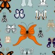 Hand draw summer butterflies seamless pattern — Stock Vector