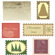Set of vintage stamps and vintage postcard. — Stock Vector